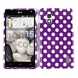 Cell Armor Snap-On Case for LG Optimus G - Retail Packaging - White Dots/Purple