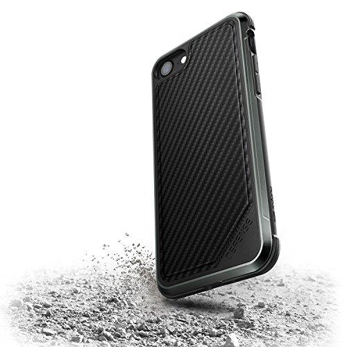 Étui iPhone 7 Plus & iPhone 8 Plus,X-Doria Defense Lux Series - Test de niveau de qualité militaire, aluminium anodisé, TPU, étui de protection en polycarbonate pour Apple iPhone 7 Plus & iPhone 8 Plu Fibre de carbone