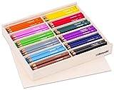 Betzold 55071 - 144 Dreikant-Stifte in Holzbox mit Deckel - Buntstifte, Farbstifte, Holzstifte