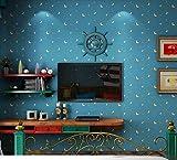 Wandtattoo Tapete Mediterrane Tapete Kinderzimmer Tapeten Jungen Mädchen Schlafzimmer Tapeten Vliesstoff-Tapeten Karikatur-nette rosa blaue Mond-Tapete für Wandgemälde Art Decals Home Decoration