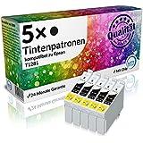 N.T.T.® 5 x Stück XL Druckerpatronen / Tintenpatronen kompatibel zu Epson T1281 Schwarz, Sparpack