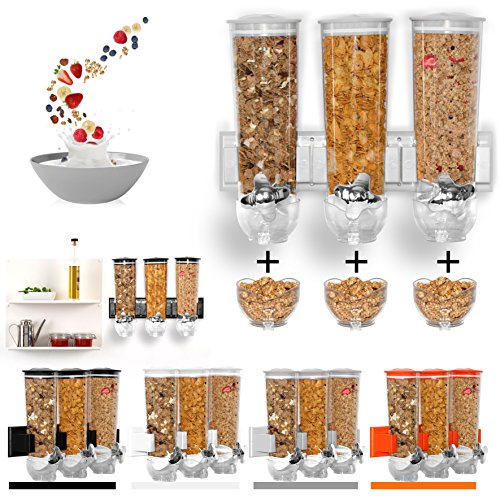 Dispensador de cereales de montaje en pared individual, doble triple hermético transparente con bandeja de derrames integrada para alimentos secos, cereales de desayuno, para comida de mascotas, gatos, para guardar dulces y comidas de forma hermética para un almacenamiento fresco y limpio
