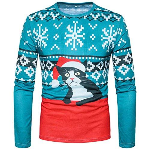 Preisvergleich Produktbild Herren Kapuzenpullover Tops Sannysis Männer Weihnachten Santa 3D Print Floral Top Weihnachten Langarm Basic T-Shirt Bluse (Blau, S)