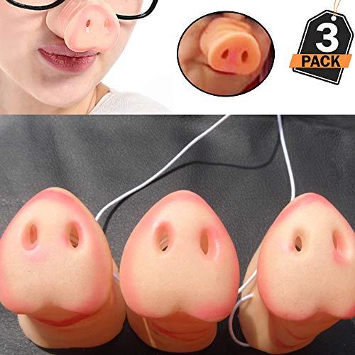 Leegicst Clownsnasen, Schwein Nase Schwein Schnauze Spielzeug mit Gummiband für Kinder/Erwachsene Kostüm Halloween Party Gefallen Zubehör 3 Stück