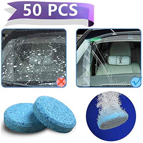 Wemk Limpiaparabrisas para Coche - Limpiador sólido de Limpiacristales, Multifuncional Efervescente para la Limpieza de cualquier tipo de vidrio y util para el hogar. 50 Piezas lo que equivale a 200 litros …