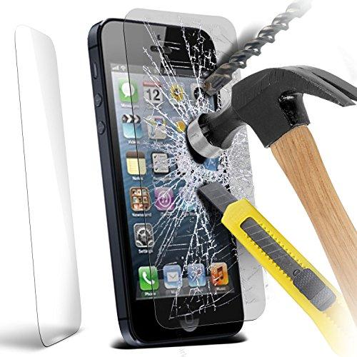 Aventus ( Pack Of 6 ) Apple iPhone 5 étui Cover Case Protections d'écran LCD de protection élégantes en verre trempé Crystal Clear Packs Avec Chiffon & Demande de carte Tempered Glass (1 Pack)