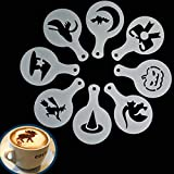 8 plantillas de café para Halloween Cappuccino con diseño de flores en spray
