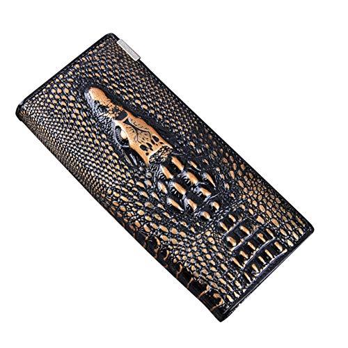 2 Archer Damen Leder Krokodil geprägt Lange Geldbörse Cluth Clutch Geldbörse Bronze -