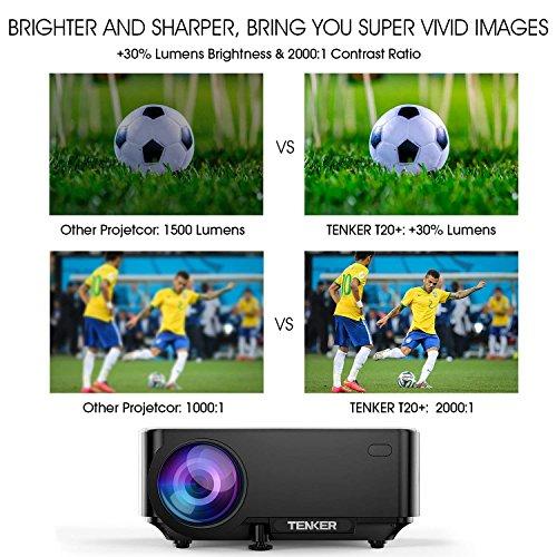TENKER T20 + (Actualización) 2000 Lúmenes Mini Proyector LCD Proyector De Cine En Casa Portátil Soporte 1080P HDMI Tarjeta SD USB AV VGA para TV Juego Portátil iPhone Andriod Smartphone Incluye Cable HDMI Negro
