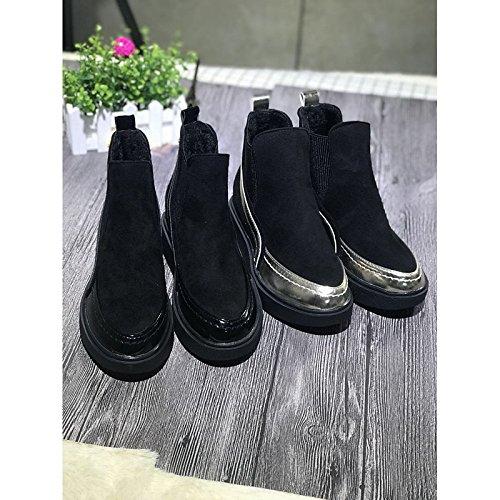 gold Black di Comfort HSXZ scarponi pu donna nero per caduta Scarpe molla di Outdoor qOg6P