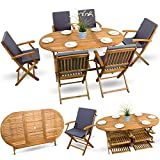 13-tlg Gartenmöbel Set Holzmöbel Gartenmöbel Essgarnitur Sitzgruppe Holz Akazie geölt # 6x Klappstuhl # 1x Klapptisch # 6x Sitz Auflagen # anthrazit