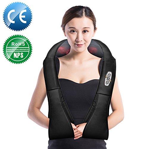 Shiatsu Massage Auto (Nackenmassagegerät, Elektrische Massagegerät mit Wärmefunktion für Schulter Nacken Rücken, Shiatsu Massagekissen Wärmefunktion Massager, 3D Rotation Masseur Massage für Haus Büro Auto)