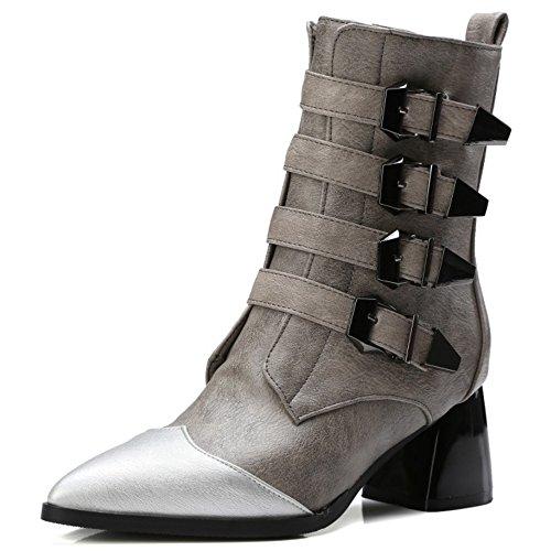 TAOFFEN Damen Trend Einfache Blockabsatz Schuhe Schnalle und Seitlichen Reißverschluss Westlichen Chelsea Stiefel Grau