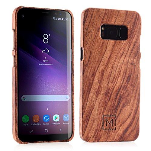MIQODO MiClip Rosenholz Hülle fürs Samsung Galaxy S8, Backcover Clip in Schlankem Case Design, Premium Holz Etui