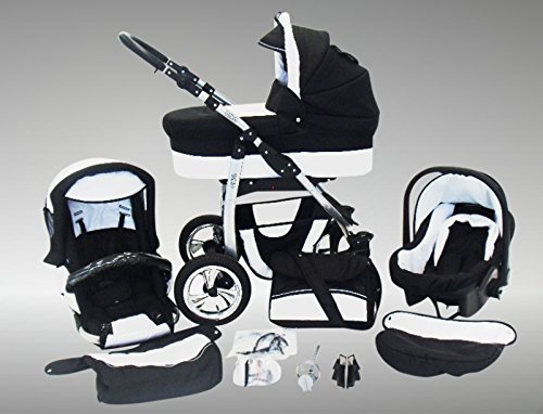 Chilly Kids Dino Kinderwagen Winter-Set (Winterfußsack, Autositz & Adapter, Regenschutz, Moskitonetz, Getränkehalter, Schwenkräder) 01 Schwarz & Weiß