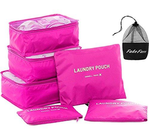 Kleidertaschen Set 6-teilig Reisetasche Reisegepäck in Koffer Nylon Packwürfel Kofferorganizer Wäschebeutel Schuhbeutel Kosmetiktasche Aufbewahrungstasche