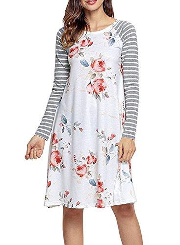 CODIFFEREN Frauen Langarm Kleid U-Ausschnitt mit Blumenmuster Size Retro Stitching