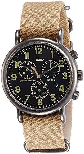 Timex Weekender Chrono Übergroße | Tan Nylongurt schwarz Zifferblatt | Casual Armbanduhr Herren Armbanduhr Tan
