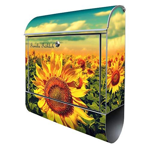 Banjado Design Briefkasten mit Motiv Sonnenblumen | Stahl pulverbeschichtet mit Zeitungsrolle | Größe 38x47x14cm, 2 Schlüssel, A4 Einwurf, inkl. Montagematerial mit Beschriftung