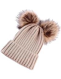 Baosity Bambini Cappelli Berretti Lavorato A Maglia Cap Cappellini Caldo  Inverno per Neonati 4c8554def0c2