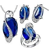 AnazoZ Schmuckset Zirkonia Ohrstecker Anhänger Halskette Verlobungsringe Schmuck Set für Damen Hochzeit Geschenk - Blau Größe 57 (18.1)