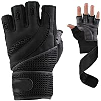 Guantes de entrenamiento fitness gym Breath muñeca embalaje Negro M, negro, medium