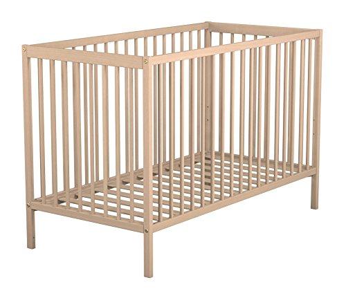 AT4 - Lit bébé ESSENTIEL Hêtre brut - Sommier réglable 3 hauteurs