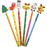 Xuxuou Lápiz de madera creativo de lápices de Navidad para niños pintura suministros 6 unids/set