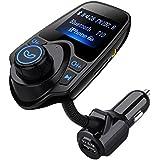 Transmetteur FM Bluetooth VicTsing Kit de Voiture Mains Libres Sans Fil Chargeur USB de Voiture avec 3.5mm Port Audio, Fente pour carte TF, Écran de 1.44 Pouces pour iPhone 7 7 Plus, Galaxy S7 S6, HUAWEI P9 P8, Sony Xperia, HTC, etc - Noir
