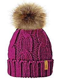 8c03f45ff2e11 TOSKATOK Ladies Chunky Soft Cable Knit Hat with Cosy Fleece Liner and  Detachable Faux Fur Pompom