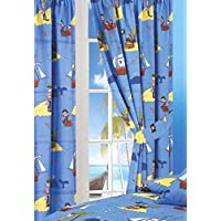 """66"""" Width x 72"""" Drop Curtains, Treasure Island, Pirates Whale Sea Ocean Fishes Ship Skull & Bones Parrot, Blue Yellow Black White Red, With Matching Tie Backs"""