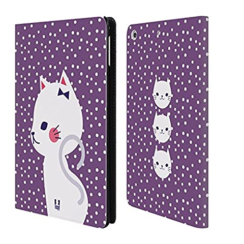 Head Case Designs White Cat In Purple Cats And Dots Leather Book Wallet Case Cover For Apple iPad mini 4