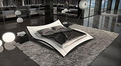SEDUCCE Doppelbett/Lederbett weiss/schwarz, 160 x 200 (Günstige Jugendbetten)