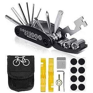 51OwmtrlggL. SS300 VICKSONGS Kit Riparazione per Bici, Kit Riparazione Camera d'Aria Bici, 16 in 1 Attrezzo Multifunzione da Bici con Kit…