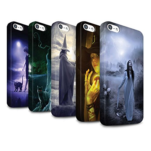 Officiel Elena Dudina Coque / Clipser Matte Etui pour Apple iPhone SE / Autel/Rituel/Décès Design / Magie Noire Collection Pack 6pcs