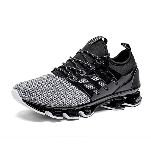 NEOKER Zapatillas Running Hombre Sneakers Calzado Deportivo Aire Libre y Deporte Gimnasia Respirable Gris 42