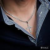 STERLL Herren Hals-Kette, Sterling-Silber 925, Kreuz-Anhänger Geschenk-Set, Gothic - 3