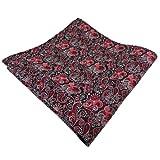 TigerTie Einstecktuch rot bordeaux rosa schwarz silber paisley - Tuch Polyester - Pochette Kavalierstuch
