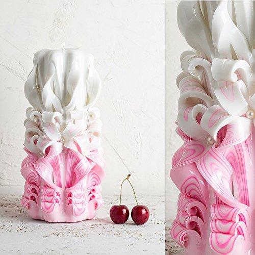 Candela intagliata per matrimonio, esclusiva decorata a mano rosa per sposa, doccia nuziale - evecandles