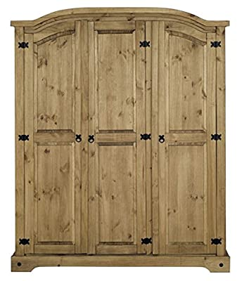 Corona 3 Door Arched Top Wardrobe in Solid Pine - cheap UK light store.