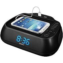 Duronic ACR02 – Radio despertador FM/AM, Pantalla LED azul, Sistema de altavoces – Recarga para dispositivos USB.