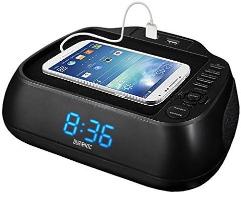 Duronic ACR02 Radio-réveil noir à rétroéclairage bleu – 2 ports