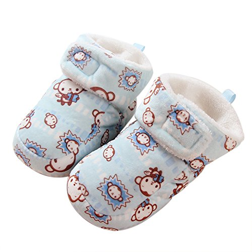 VWU Unisex Baby Mädchen Jungen Kleinkind Socken Neugeborene Starke Warme Erstlingssöckchen Anti Rutsch Tier Affe Wolle Winter Terry Samt Dicke Slipper Socken (S, Blau) (Socke Affe-baby Blau)