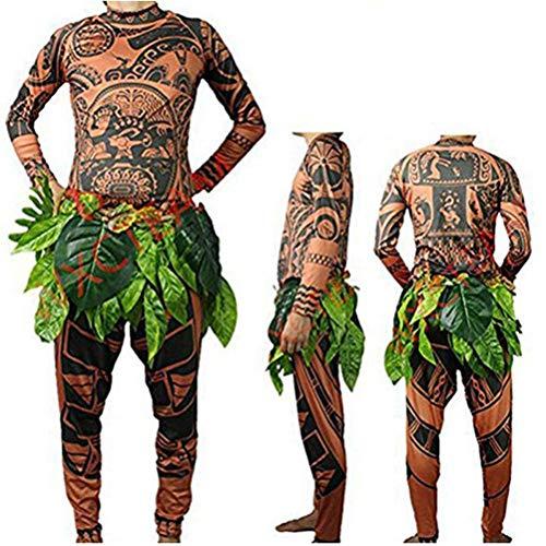 Homme Bébé Halloween Cosplay Moana Maui Tattoo Costume Ensembles de Pantalons 2 pièces Célébration Fête Costumée Portant Vêtements de Famille (L, Marron)