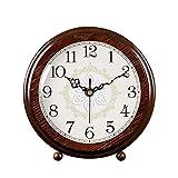 Retro Reloj de sobremesa Salón de Madera Maciza Reloj de Mesa Decoración Simple Péndulo Reloj Creativo Pequeño Reloj (Color : Brown, Size : 24cm/9.4')