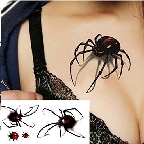DFLY 1 Wasserdicht Spinne schwarz 3D Flash temporäre Tattoo Aufkleber DIY Body Art Beauty Halloween Dekorationen Fashion Lovely Simulation Spider Frauen Sexy