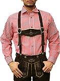 German Wear Trachtenhemd für Trachtenlederhosen Oktoberfest Trachtenmode rot/kariert 100% Baumwolle, Hemdgröße:S