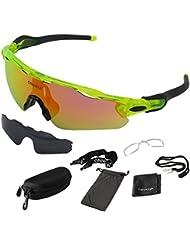 ONVAYA® Polarisierte UV400 Sportsonnenbrille 9 Teilig | Sportbrille | Radbrille | Sonnenbrille 2 Wechselgläser | Grün Gelb | One Size