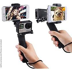 La estabilización de empuñadura para GoPro Hero con doble montaje, adaptador de trípode y de soporte para telefono universal – Grabar la cámara de video con 2 diferentes angulos de forma simultanea, Fotografia Disparo firme, autofoto