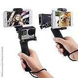 Impugnatura Stabilizzante per GoPro Hero con Doppio Supporto, Adattatore Treppiede e Porta Telefono Universale - Registra video con 2 Angoli Camera Diversi Contemporaneamente, Fotografia Steady Shot, Selfie